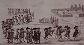 RI-1426-1 1787Spotprent op de patriotten: begrafenis van een grote zalm.