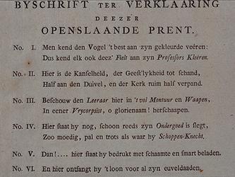 RI-1434-2 1787Gedrukt bijschrift ter verklaring in dicht, nummer 1- 6 op de spotprent van J.J. le Sage ten Broek.
