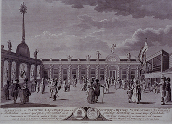RI-1450 12 april 1788Afbeelding van de plechtige illuminatie ter gelegenheid van het herstel van 's lands wettige ...