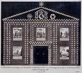RI-1451-I 7 augustus 1788Afbeelding van de illuminatie en decoratie voor het huis van M. Th. Peypers op het Haringvliet ...