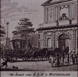 RI-1462 20 oktober 1790Stadhouder Willem V arriveert per koets te Rotterdam.