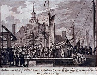 RI-1466-1 15 september 1793Aankomst van Willem George Fredrik van Oranje te Rotterdam.