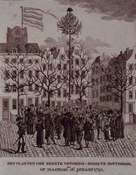 RI-1480 26 januari 1795Het planten van de eerste vrijheidsboom op de Grotemarkt.