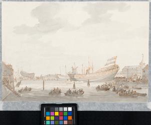RI-1500 Het Boerengat gezien vanuit westelijke richting. Op 's Lands werf, rechts, loopt een schip van stapel. Op de ...