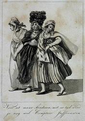 RI-1507-I Opgedirkte vrouwen, spotprent op volksmeisjes.