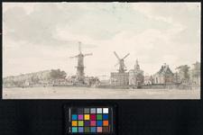 RI-151 Links de bomenrij op het Nieuwewerk, vervolgens de molen De Pelikaan, de Stokkenbrug en molen De Oranjeboom. ...