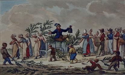 RI-1514 Het halen van groen door de inwoners van de Lange Lijnstraat ter gelegenheid van het bezoek van keizer Napoleon.