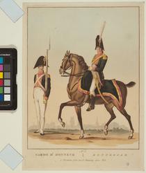 RI-1515-1 25 oktober 1811De uniformen van de erewacht te voet en te paard bij het bezoek van Napoleon I aan Rotterdam.