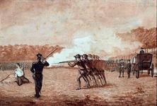 RI-1517 De terechtstelling van kastelein Eel van Moordrecht door een vuurpeleton op het exercitieveld buiten Rotterdam.