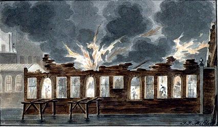 RI-1518 1812Brand van het pakhuispand aan de Boompjes, ter plaatse waar de Nederlandse Handel-Maatschappij gevestigd ...