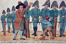 RI-1519 1813Spotprent op Franse douaniers met het opschrift: Zoek maar uit, zoek maar uit, zes douane voor een duit.