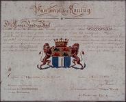 RI-1527 Facsimile van het wapendiploma van de stad Rotterdam, bevestigd op 24 juli door de Hoge Raad van Adel