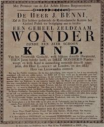 RI-1530-2 1819Aanplakbiljet ter bezichtiging van het wonderkind Janna Drabbe op de kermis van 1819.