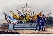 RI-1543A 1830Spotprent op de uitgetrokken Rotterdamse schutterij.