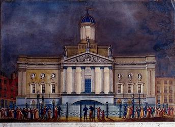 RI-1549 3 juli 1837Illuminatie aan het stadhuis, ter gelegenheid van het bezoek van de Koning.