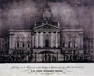 RI-1550-II 3 juli 1837Illuminatie aan het stadhuis, ter gelegenheid van het bezoek van de Koning.