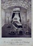 RI-1558 2 januari 1844De Lijkbaar in een zaal op de 's- Lands Werf ingericht voor het lijk van zijne majesteit Willem ...