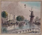 RI-1561 Opstijging heer Kirsch in een luchtballon.Coolsingel met molen de Hoop, Binnenwegsebrug,