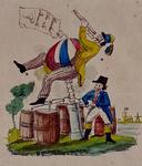 RI-1569 1846Spotprent op de mislukte pogingen van F.L. de Ruiter om met een luchtballon op te stijgen.