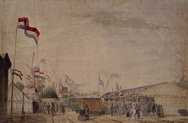 RI-1571 31 mei 1847Feestelijke openstelling van de lijn Rotterdam - Amsterdam van de Hollandschen IJzeren Spoorweg- ...