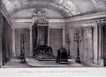 RI-1574 5 april 1849Rouwzaal in het Marinegebouw, met het opgebaarde stoffelijk overschot van Z.M. Koning Willem II.