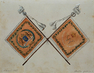 RI-1582 Vaandel van de Rotterdamse schutterij, op 28 juli 1851 door Z.M. Koning Willem III op de Grotemarkt uitgereikt.