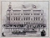 RI-1583 30 juli 1851Roeiwedstrijd door de Koninklijke Nederlandsche Yachtclub, voor het nieuwe gebouw aan de ...