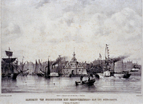 RI-1591 Muziekfeesten 1854.Aankomst stoomboten met feestvierenden, aan het Oude Hoofd.