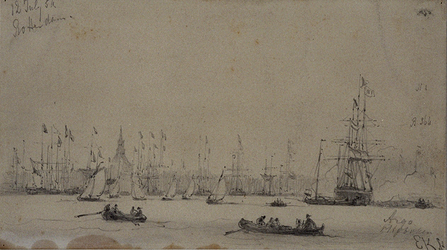 RI-1593 12 juli 1854Gezicht met schepen op de Nieuwe Maas tijdens het muziekfeest ter gelegenheid van het 25-jarig ...