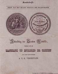 RI-1604 Afbeelding van de gouden medaille, door de Maatschappij tot Bevordering der Toonkunst aan de stichter van deze ...