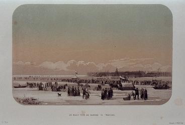 RI-1607-3 Februari, 1855.Gezicht op de Maas voor een fabriek op Feijenoord.
