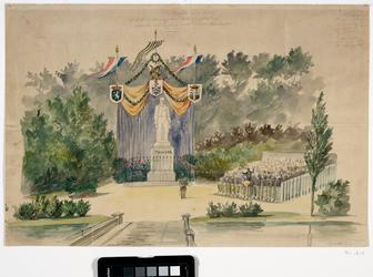 RI-1618 24 september 1860Schetstekening van het decoratief bij de onthulling van het standbeeld van de dichter H. Tollens