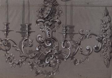 RI-1629 18 juni 1864.Afbeelding van een der zilveren kandelaars voor het zilveren huwelijksfeest van koning Willem III ...