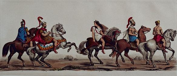 RI-1638-1-5 11 maart 1864Gecostumeerde optocht door de leden van de manege te Rotterdam ter gelegenheid van het ...