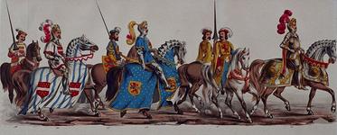 RI-1638-14-19 11 maart 1864.Gecostumeerde optocht door de leden van de manege te Rotterdam ter gelegenheid van het ...