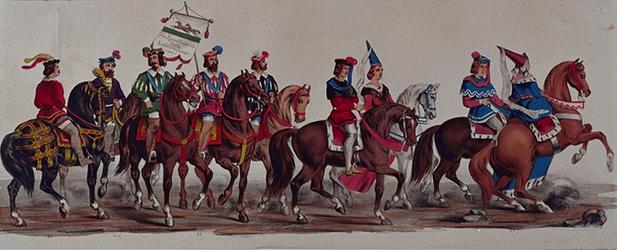 RI-1638-20-24 11 maart 1864.Gecostumeerde optocht door de leden van de manege te Rotterdam ter gelegenheid van het ...