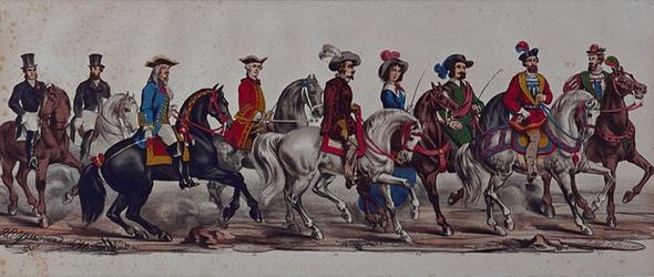 RI-1638-25-33 11 maart 1864.Gecostumeerde optocht door de leden van de manege te Rotterdam ter gelegenheid van het ...