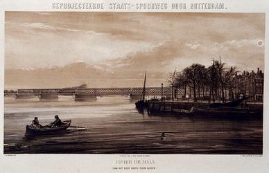 RI-1644-4 Ontwerp van de staatsspoorlijn; impressie van een niet uitgevoerde spoorbrug over de Nieuwe Maas.