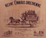 RI-1645 Reclame (affiche) van de Nieuwe Omnibusonderneming met het rijtuig van de Hoflaan naar het Park.