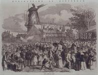 RI-1667-1 Kermis op de Veemarkt, aan het Hofplein, op de achtergrond de Blauwe Molen.