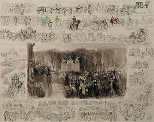 RI-1678 1 april 1872.Tekening van een historisch-allegorische optocht (vanaf het Westplein via de Leuvehaven, de ...