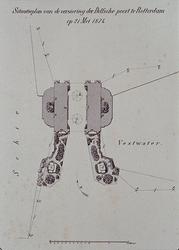 RI-1691 21 mei 1874Situatieplan van de versiering van de Delftse Poort.