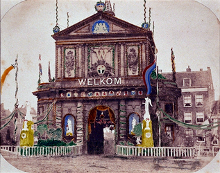 RI-1692 21 mei 1874 Versiering van de Delftse Poort.