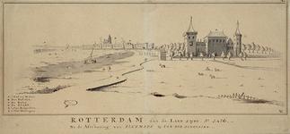 RI-182 Gefantaseerde voorstelling van een panorama van Rotterdam, aan de landzijde in 1426, met het Hof van Weena. In ...