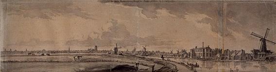 RI-184 Gezicht op de polder Rubroek en de rivier de Rotte met in de verte het silhouet van Rotterdam.