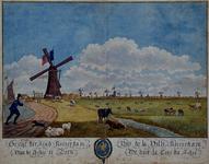 RI-188 Rotterdam gezien vanaf de Rotterdamse Schie met links de molen van de Blijdorpse polder. Op de molen en op de ...
