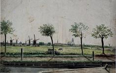 RI-190C Het landschap langs de Oudedijk in Kralingen met op de achtergrond Rotterdam.