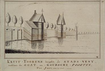 RI-195 Kruit-torens langs de Stads-Vest (Goudsevest), tussen de Oost- en Goudse poorten (ca.. 1501-1502).