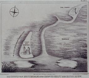 RI-1A Plattegrond van Rotterdam, circa 1000, met het kasteel Bulgersteyn op een zandplaat, genaamd het Rode Zand.