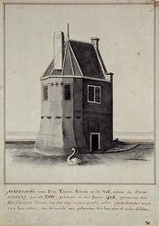 RI-205 Afbeelding van de 'Ketelboeters-Toorn' op de Goudsevest, achter de zeepziederij van de Zon, gebouwd in het jaar 1506.